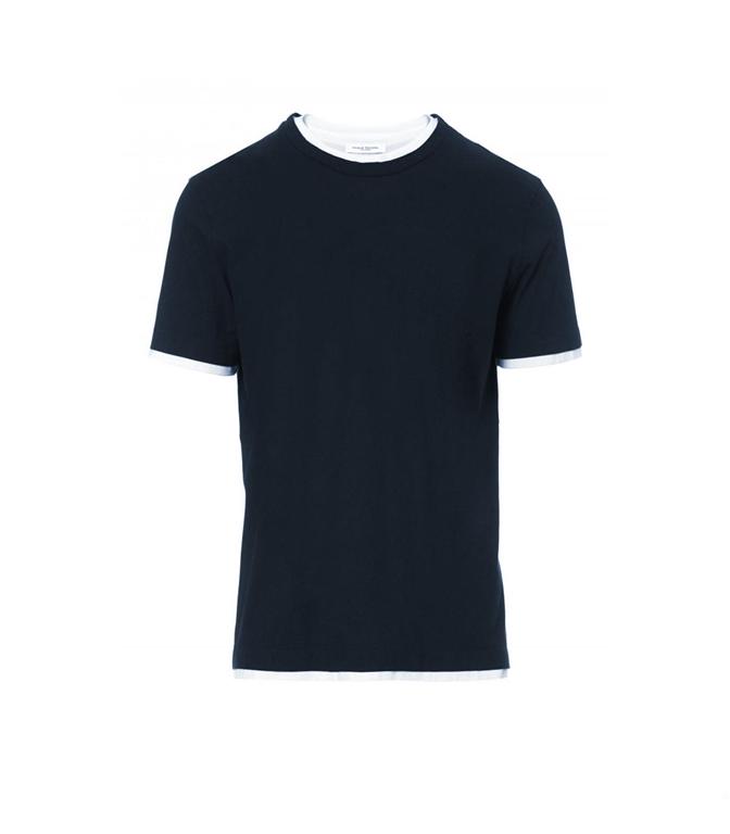 Paolo Pecora - T-Shirt - T-SHIRT CON BORDI A CONTRASTO BLU