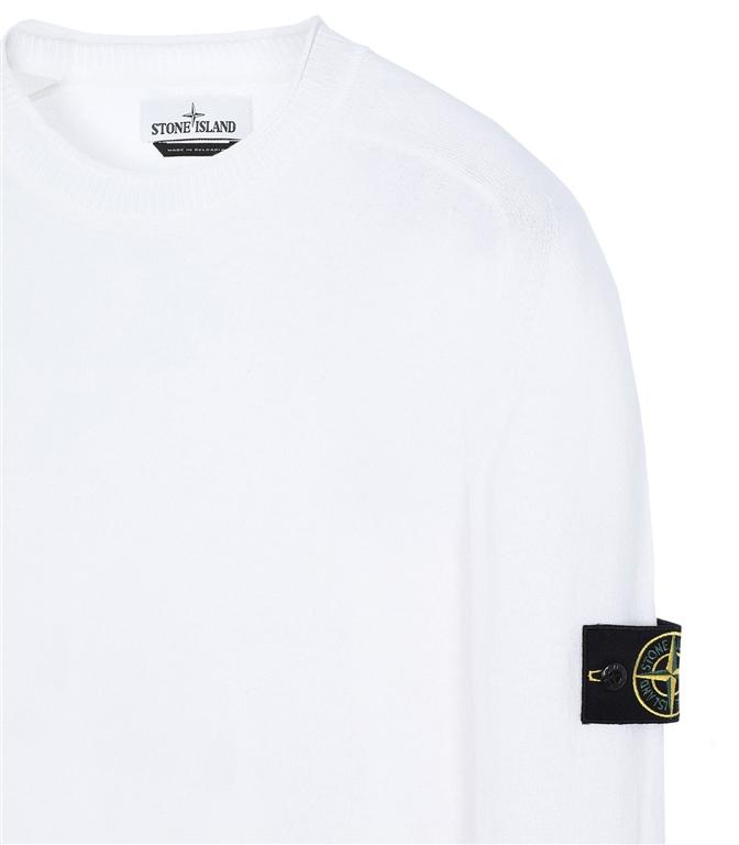 Stone Island - Maglie - maglia girocollo in cotone bianca 1