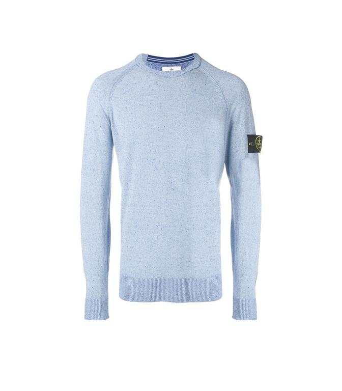 Stone Island - Maglie - maglia girocollo in lino pervinca