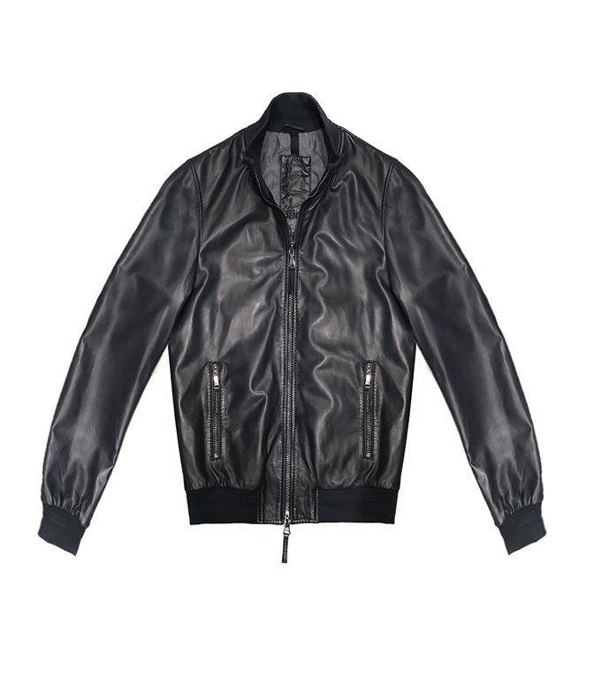 The Jack Leathers - Outlet - derek rib leather jacket blu