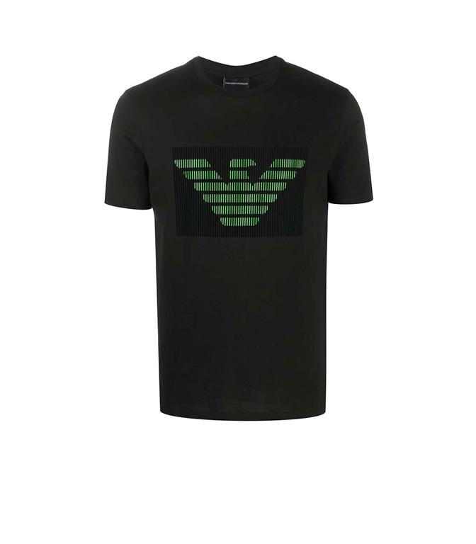 Emporio Armani - T-Shirt - t-shirt nera in jersey con stampa logo floccato
