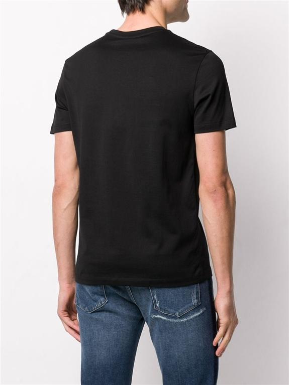 Emporio Armani - T-Shirt - t-shirt nera in jersey con stampa logo floccato 1