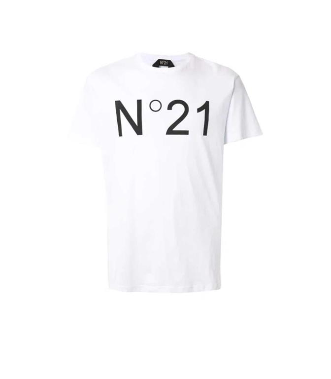 N°21 - T-Shirt - t-shirt con stampa bianca