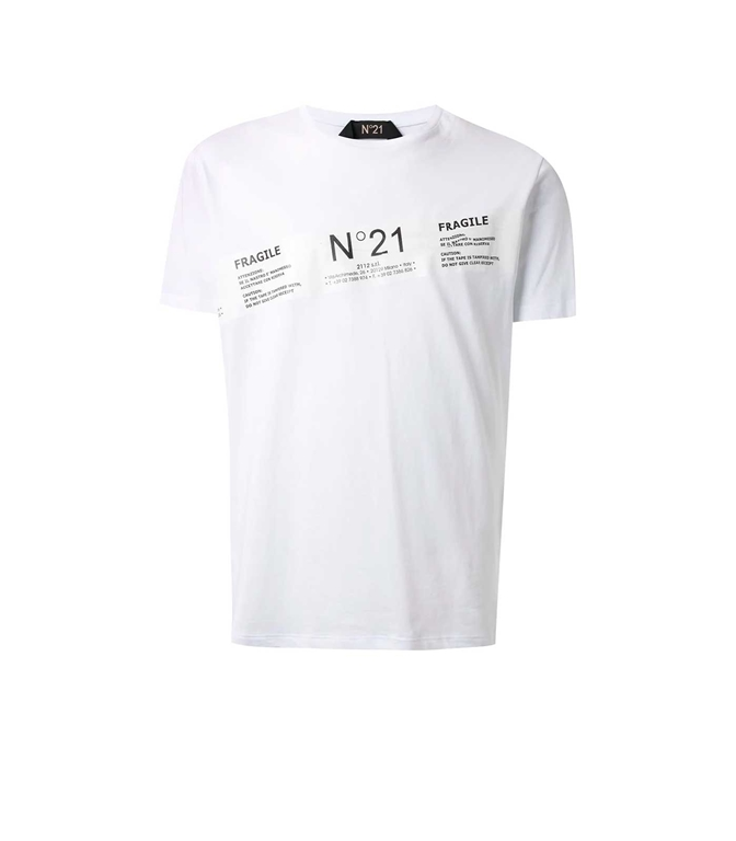 N°21 - T-Shirt - t-shirt fragile con stampa bianca
