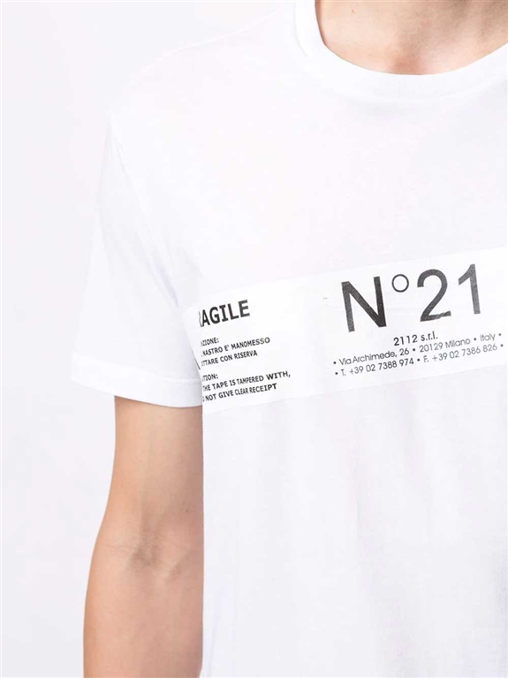 N°21 - T-Shirt - t-shirt fragile con stampa bianca 2
