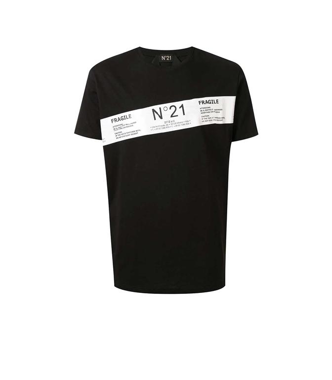 N°21 - T-Shirt - t-shirt fragile con stampa nera