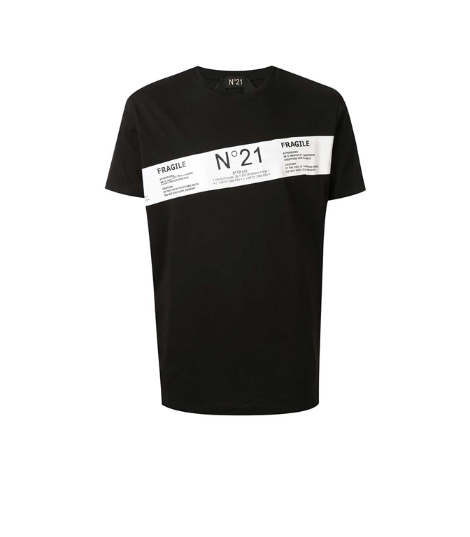 N°21 - T-Shirt - t-shirt fragile con stampa nera