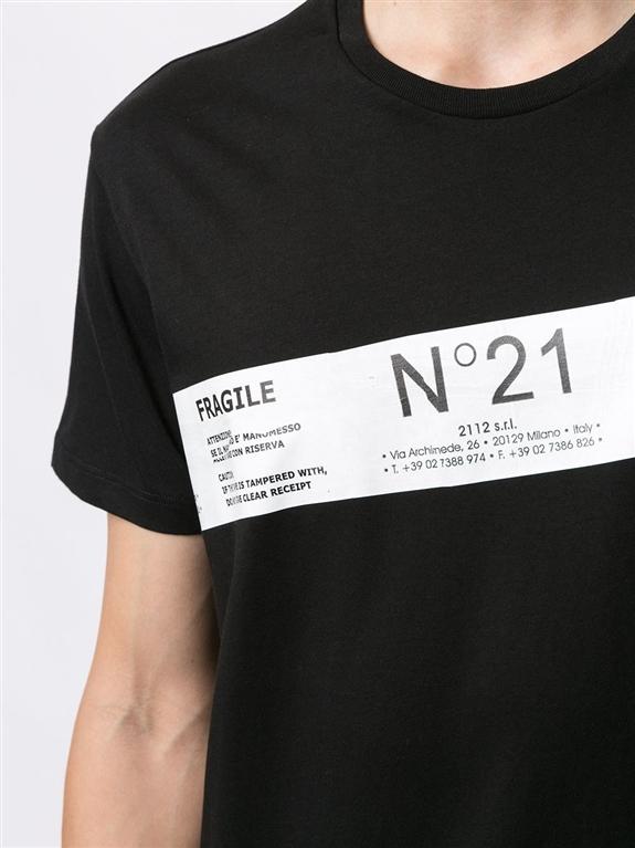 N°21 - T-Shirt - t-shirt fragile con stampa nera 2