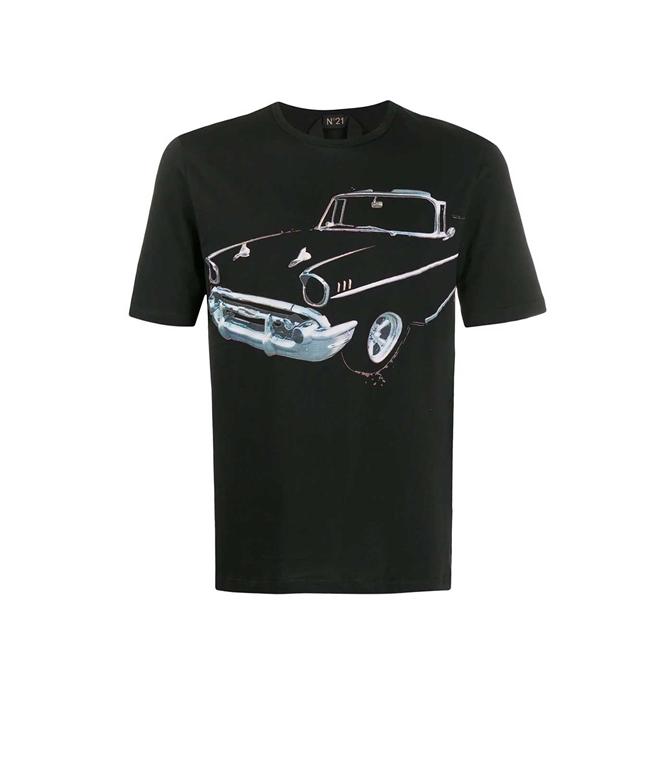 N°21 - T-Shirt - maglia nera stampa auto