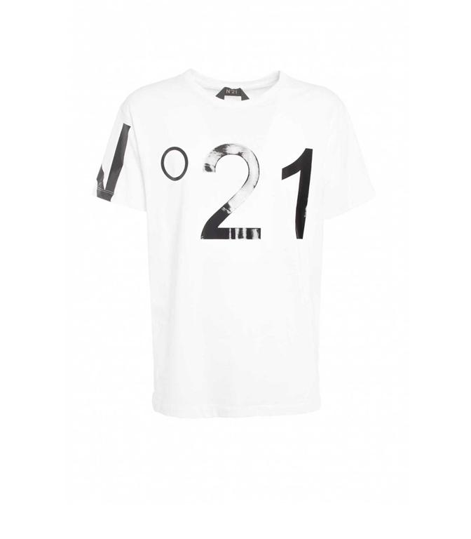 N°21 - T-Shirt - t-shirt girocollo con stampa bianca
