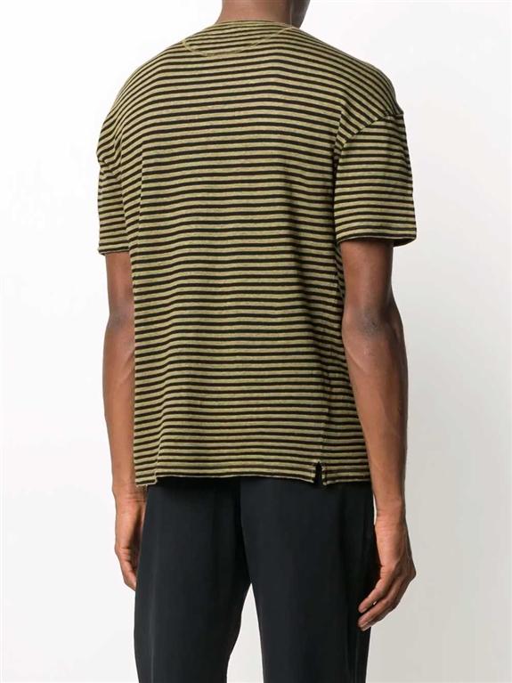 Roberto Collina - Maglie - t-shirt a righe verde oliva 1