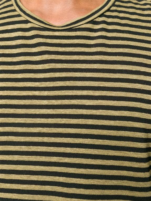 Roberto Collina - Maglie - t-shirt a righe verde oliva 2