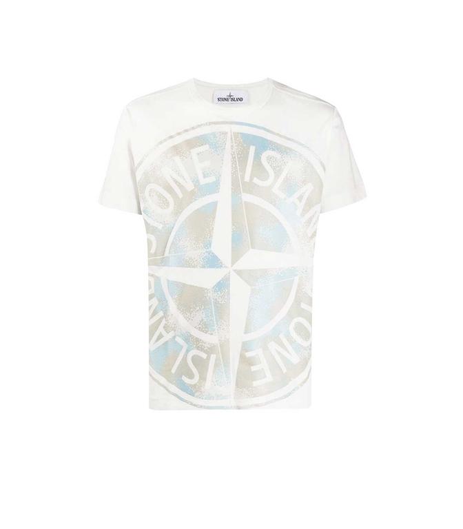 Stone Island - T-Shirt - t-shirt camo dévoré avorio