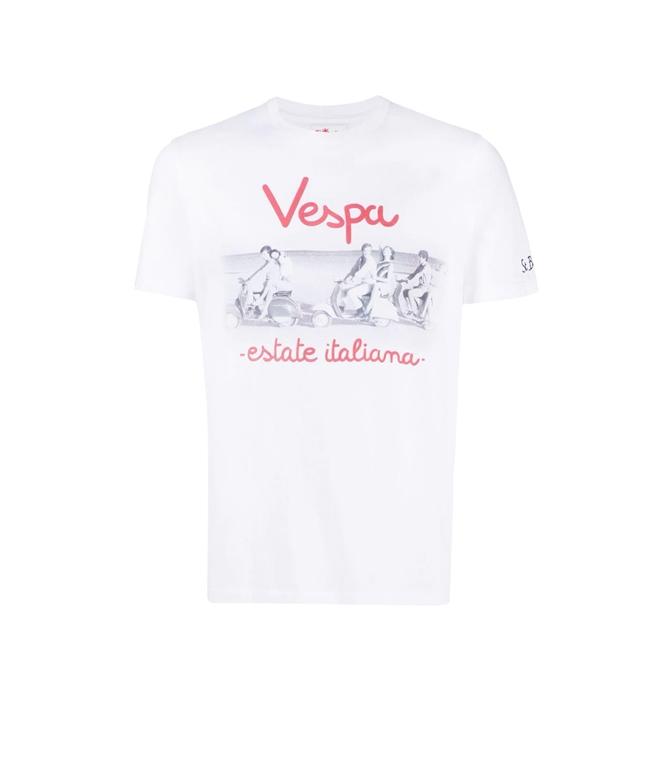 Mc2 Saint Barth - T-Shirt - T-SHIRT BIANCA VESPA ESTATE ITALIANA