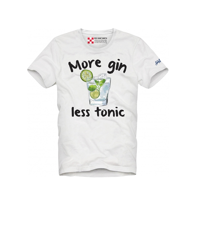 "Mc2 Saint Barth - T-Shirt - T-SHIRT BIANCA ""MORE GIN LESS TONIC"""