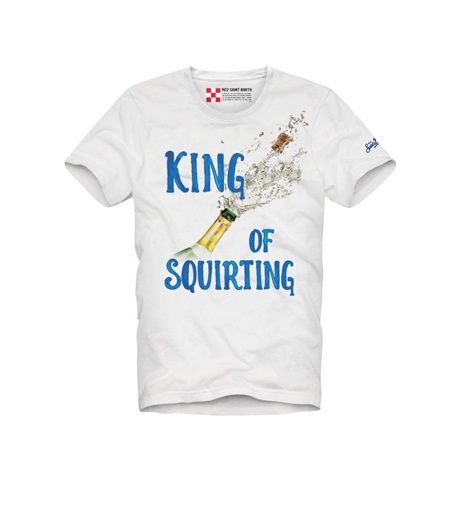 "Mc2 Saint Barth - T-Shirt - T SHIRT BIANCA STAMPA ""KING OF SQUIRTING"""