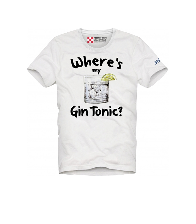 "Mc2 Saint Barth - T-Shirt - T-SHIRT BIANCA STAMPA ""WHERE IS MY GIN TONIC"""