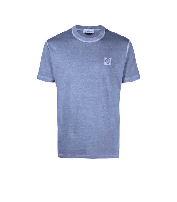 Stone Island - T-Shirt - TSHIRT TINTA 'FISSATO' TREATMENT AVIO