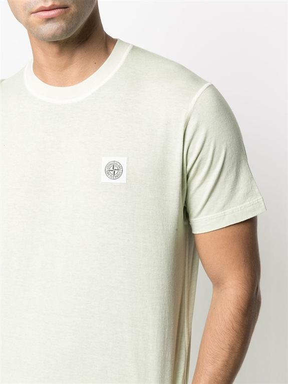 Stone Island - T-Shirt - tshirt tinta 'fissato' treatment verde chiaro 2