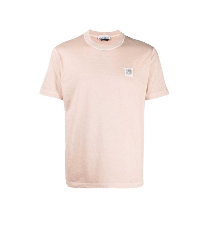 Stone Island - T-Shirt - TSHIRT TINTA 'FISSATO' TREATMENT ROSA QUARZO