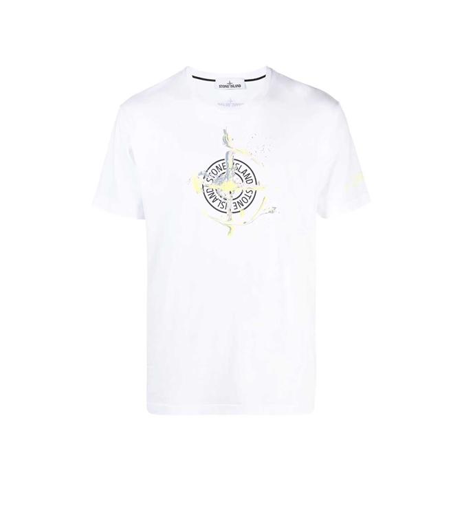 Stone Island - T-Shirt - TSHIRT LOGO FLOW BIANCA