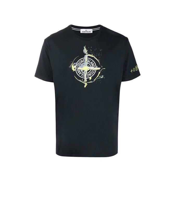 Stone Island - T-Shirt - tshirt logo flow blu