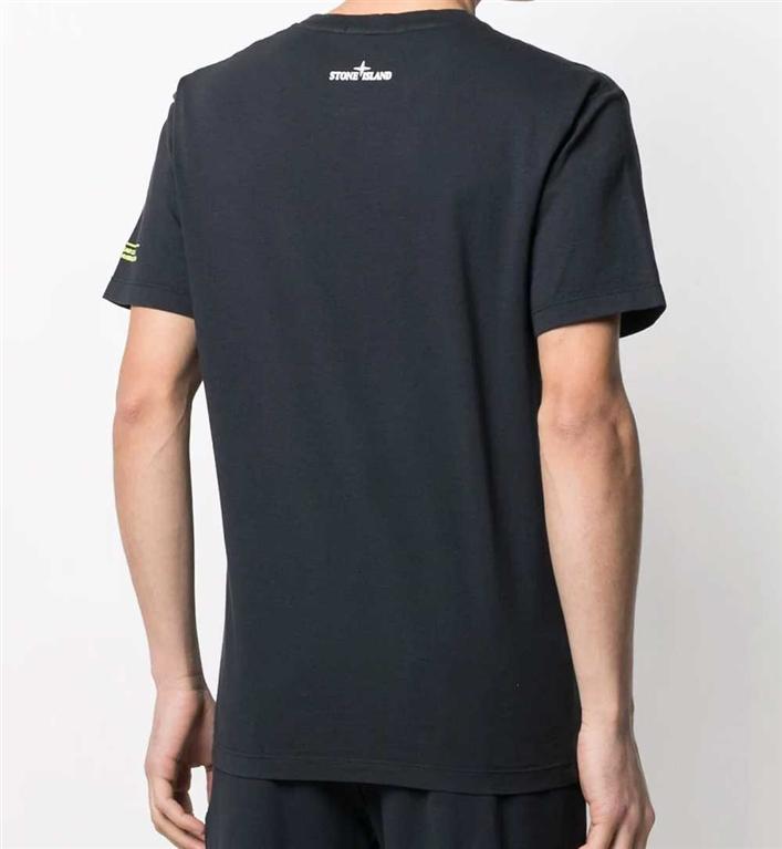 Stone Island - T-Shirt - tshirt logo flow blu 1