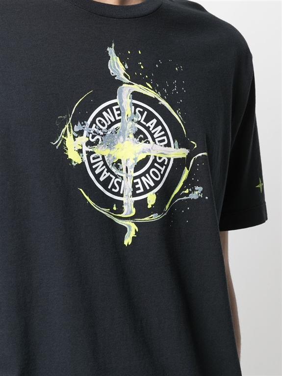 Stone Island - T-Shirt - tshirt logo flow blu 2