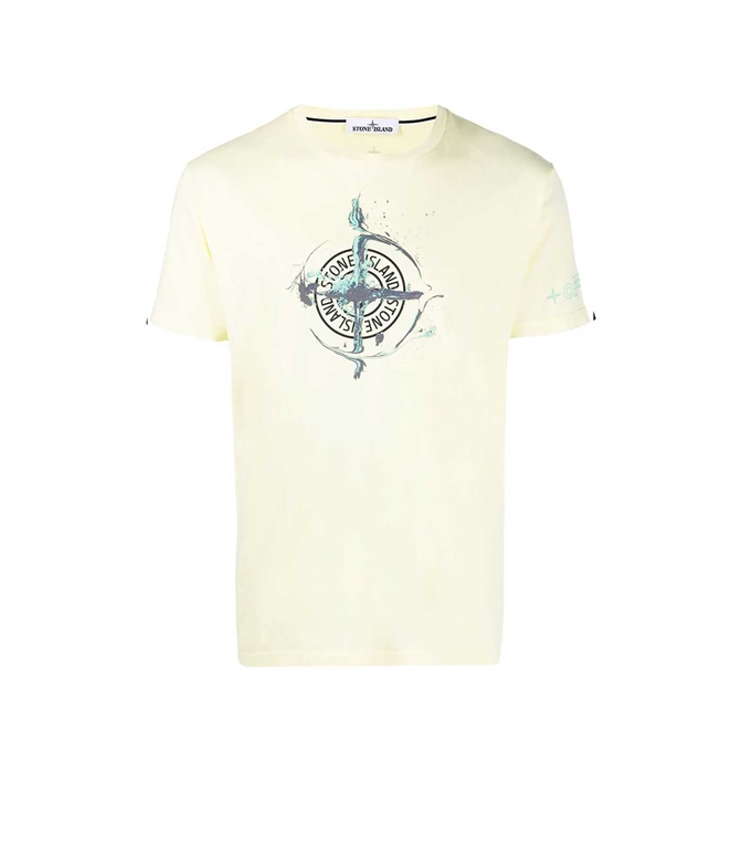 Stone Island - T-Shirt - TSHIRT LOGO FLOW LIMONE