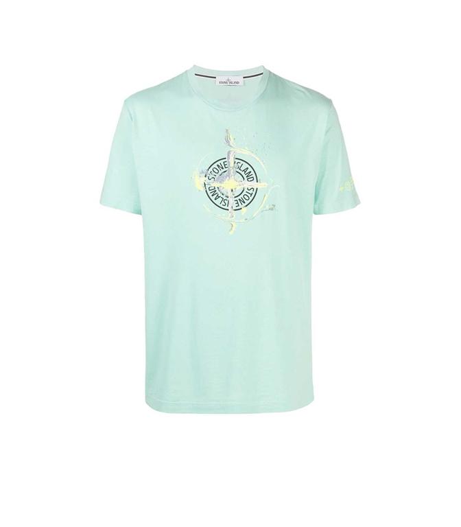 Stone Island - T-Shirt - TSHIRT LOGO FLOW ACQUA