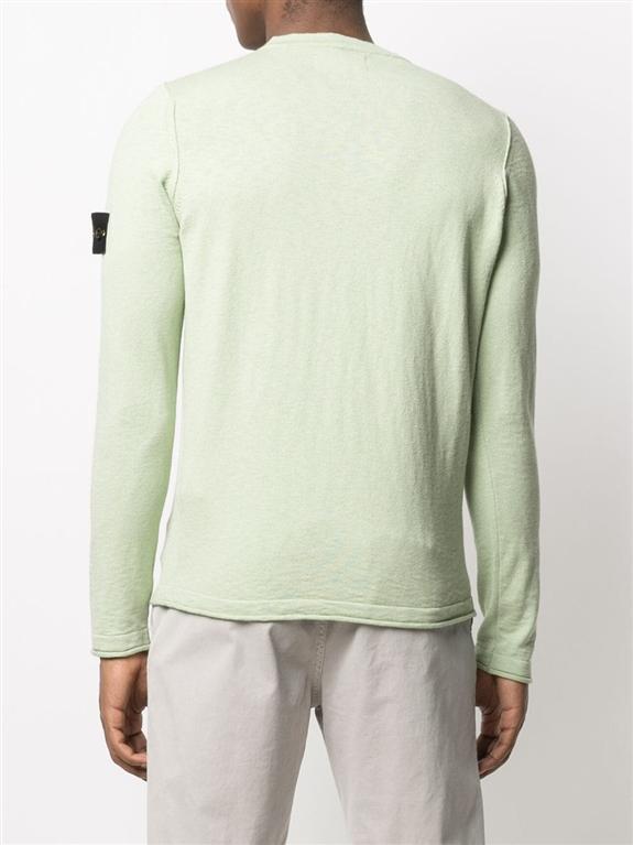 Stone Island - Maglie - maglia in cotone delavé verde chiaro 1