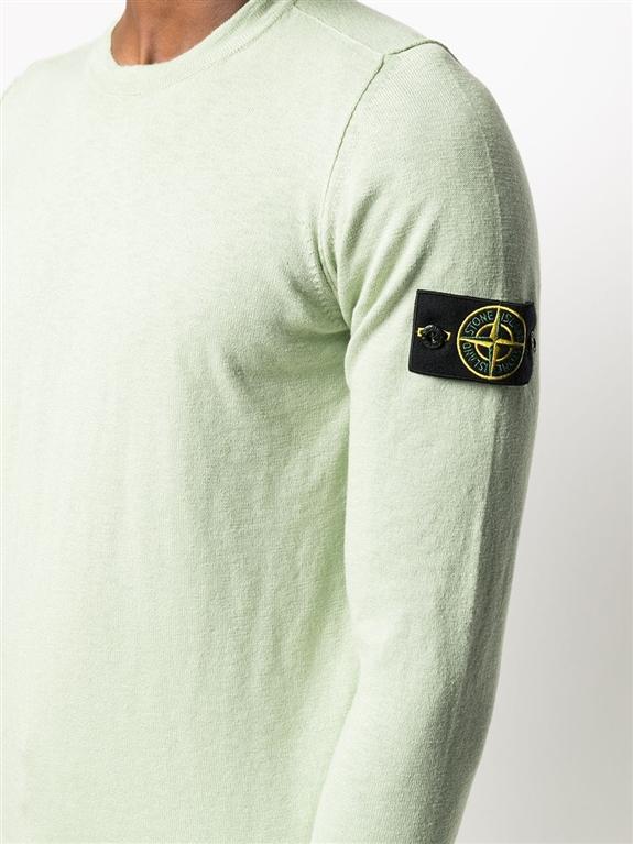 Stone Island - Maglie - maglia in cotone delavé verde chiaro 2